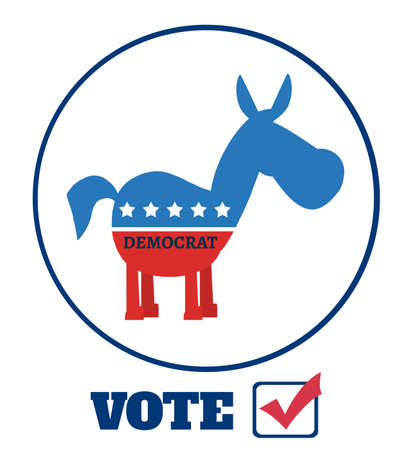 promising: Democrat Donkey Cartoon Character Circle Label With Text Vote. Illustration Flat Design Style