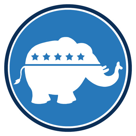 republican elephant: Republican Elephant Blue Circle Label. Illustration Flat Design Style Isolated On White