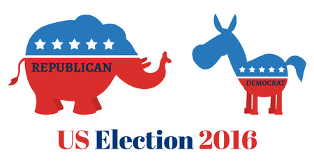 republican elephant: Political Elephant Republican Vs Donkey Democrat. Illustration Flat Design Style Isolated On White With Text US Election 2016