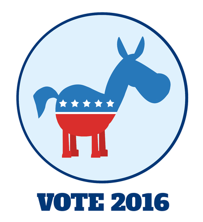 campaign promises: Democrat Donkey Cartoon Character Circle Label With Text. Illustration Flat Design Style