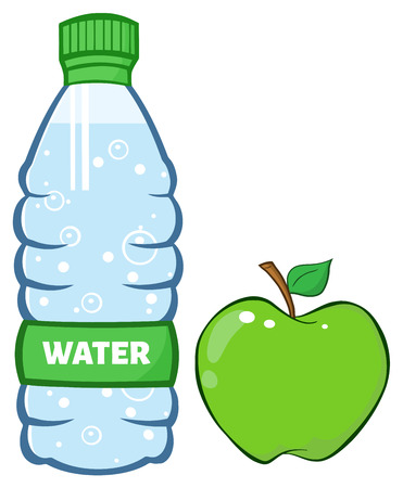 Water Plastic Bottle And Green Apple Cartoon Illustration