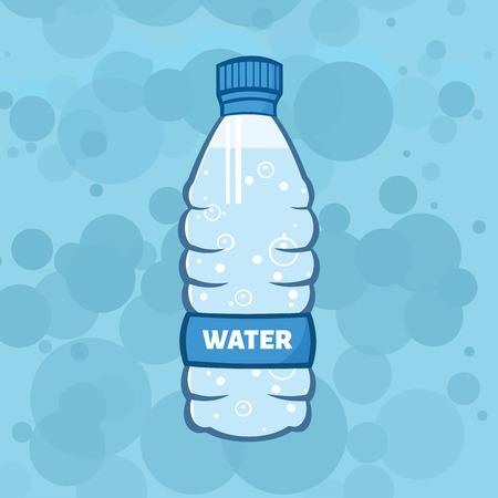 Water Plastic Bottle Cartoon Illustration. Illustration With Background Stock Photo