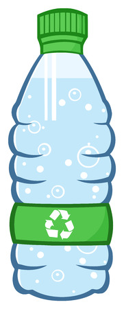 unbranded: Water Plastic Bottle Cartoon Illustration With Recycled Sign Stock Photo