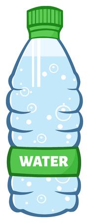 nonalcoholic: Water Plastic Bottle Cartoon Illustration. Illustration Isolated On White
