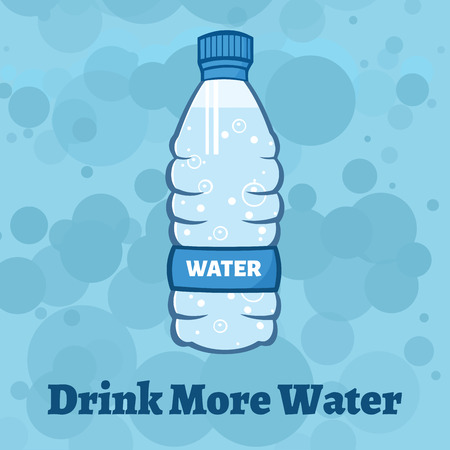Water Plastic Bottle Cartoon Illustration. Illustration With Background And Text Imagens