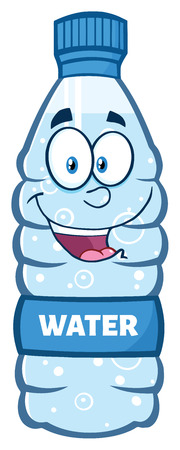 Happy Water Plastic Bottle Cartoon Mascot Character 版權商用圖片