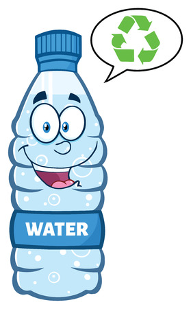 distilled: Smiling Water Plastic Bottle Cartoon Mascot Character Speech Bubble And Recycled Sign Stock Photo
