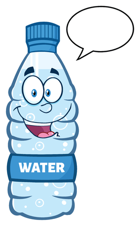distilled: Smiling Water Plastic Bottle Cartoon Mascot Character Speech Bubble
