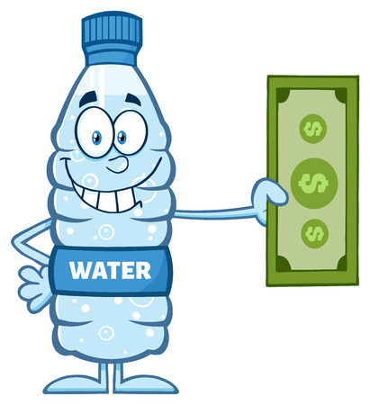 distilled: Smiling Water Plastic Bottle Cartoon Mascot Character Holding A Dollar Bill