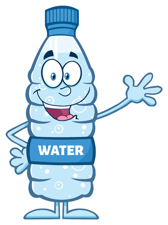 Happy Water Plastic Bottle Cartoon Mascot Character Waving