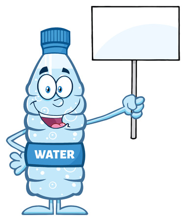 distilled: Water Plastic Bottle Cartoon Mascot Character Holding Up A Blank Sign Stock Photo