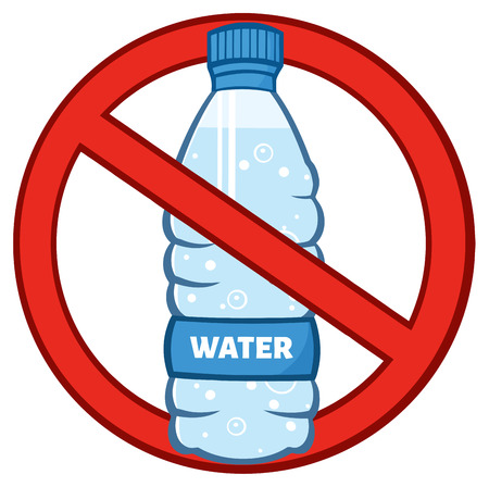 Mineral: Restricted Symbol Over A Water Plastic Bottle Cartoon Illustration