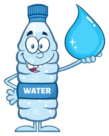 Sorridente bottiglia di plastica di acqua del fumetto della mascotte carattere Holding una goccia d'acqua Archivio Fotografico - 57270964