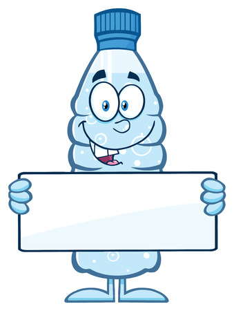 distilled: Water Plastic Bottle Cartoon Mascot Character Holding A Blank Sign Stock Photo