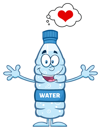 distilled: Smiling Water Plastic Bottle Cartoon Mascot Character Thinking Of Love And Wanting A Hug