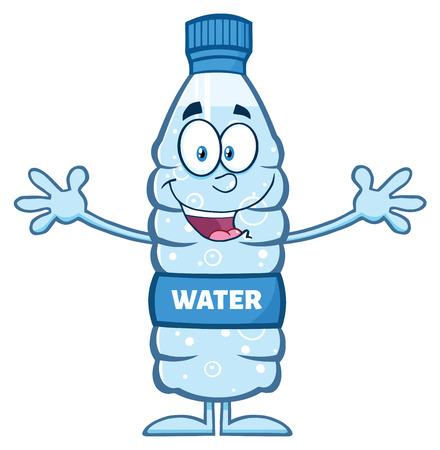 wanting: Smiling Water Plastic Bottle Cartoon Mascot Character Wanting A Hug Stock Photo