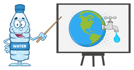 water faucet: Water Plastic Bottle Cartoon Mascot Character Using A Pointer Stick By A Board With Earth Globe With Water Faucet And Drop Stock Photo