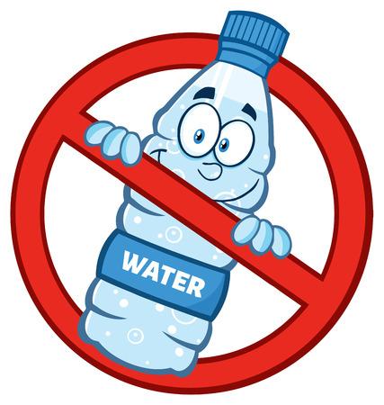 Restringido el símbolo sobre un plástico botella de agua de la mascota del personaje de dibujos animados