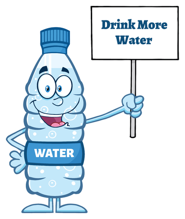 Water Plastic Bottle Cartoon Mascot Character Holding Up A Sign With Text
