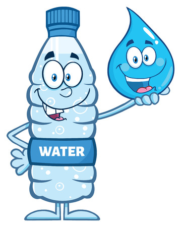 Grappig Water plastic fles Cartoon Mascot Karakter Holding een druppel water Stockfoto - 57271252