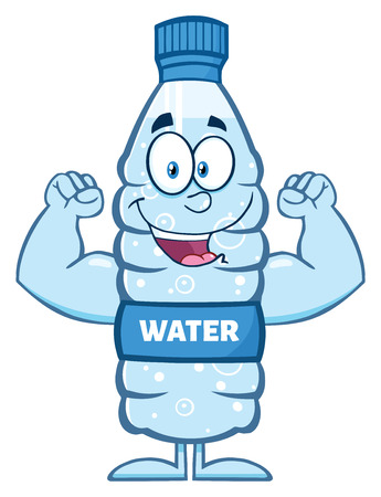 distilled: Happy Water Plastic Bottle Cartoon Mascot Character Flexing His Muscles