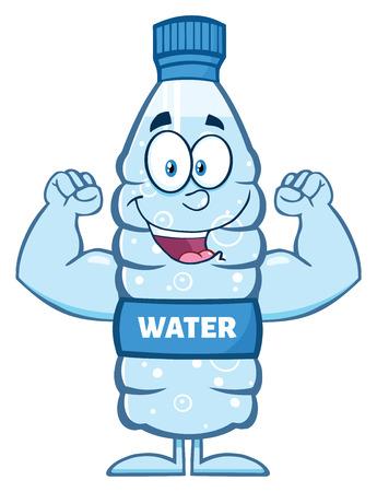 Happy Water Plastic Bottle Cartoon Mascot Character Flexing His Muscles