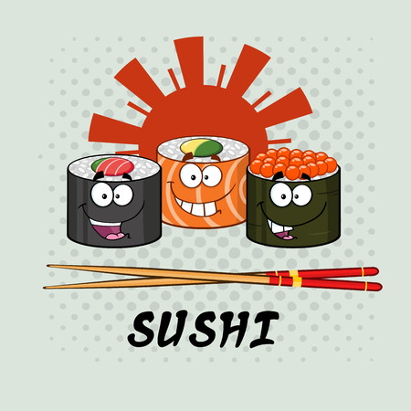 Smiling Sushi Roll Set Cartoon Characters With Chopsticks And Text. Illustration With Background