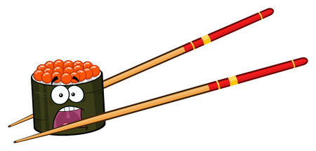 salmon: Panic Sushi Roll Cartoon Mascot Character With Chopsticks. Illustration Isolated On White