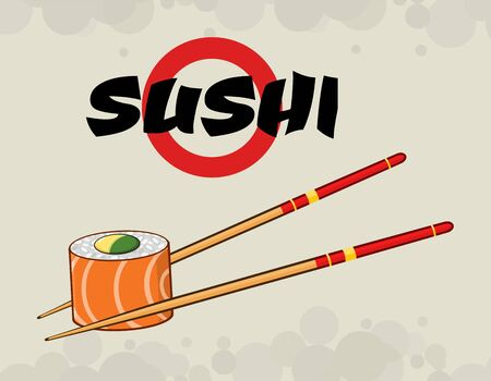 sushi chopsticks: Sushi Roll With Chopsticks. Illustration With Text And Background