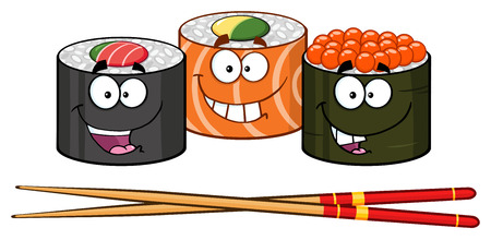Sushi Roll Set Cartoon Characters With Chopsticks. Illustration Isolated On White Reklamní fotografie