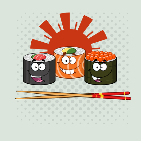 Sushi Roll Set Cartoon Characters With Chopsticks. Illustration With Background