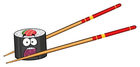 egg roll: Panic Sushi Roll Cartoon Mascot Character With Chopsticks