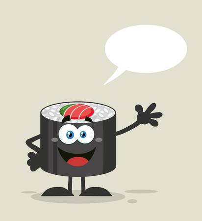 Talking Sushi Roll Cartoon Mascot Character Waving With Speech Bubble. Illustration Flat Style With Background Reklamní fotografie