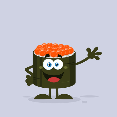 egg roll: Cute Sushi Roll Cartoon Mascot Character With Caviar Waving. Illustration Flat Style With Background
