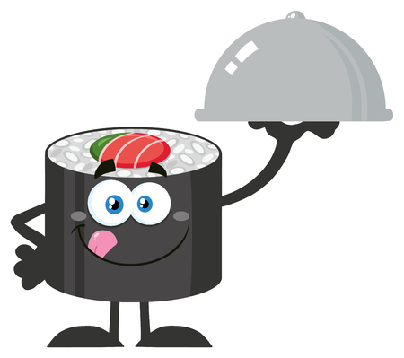licking: Sushi Roll Cartoon Mascot Character Licking His Lips And Holding A Cloche Platter