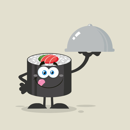 licking: Sushi Roll Cartoon Character Licking His Lips And Holding A Cloche Platter. Illustration Flat Style With Background