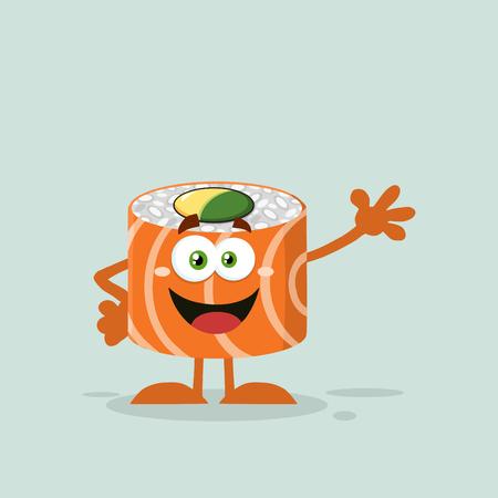 salmon: Funny Sushi Roll Cartoon Mascot Character Waving Stock Photo