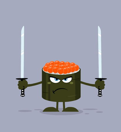 Angry Sushi Roll Cartoon Mascot Character Ready To Fight With Two Katana Swords Reklamní fotografie