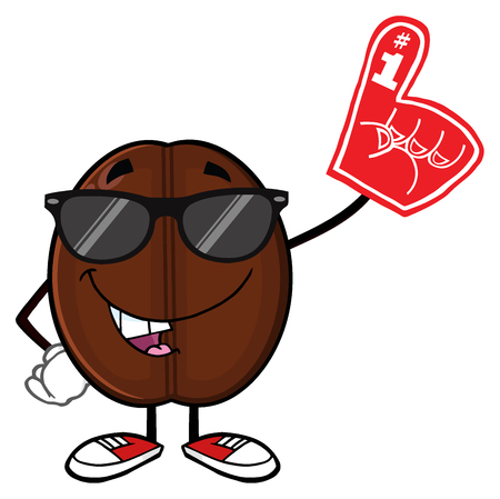 seed: Funny Coffee Bean Cartoon Mascot Character With Sunglases Wearing A Foam Finger