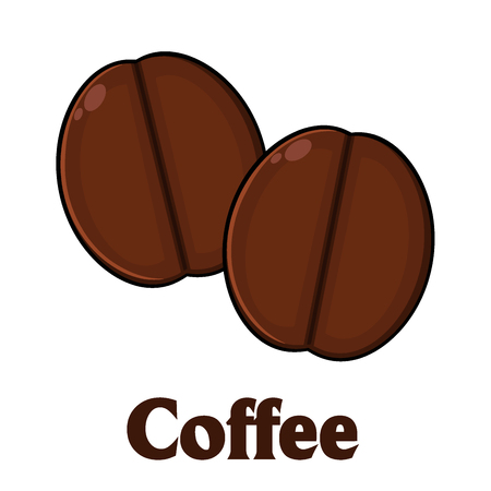stimulate: Roasted Coffee Beans Cartoon. Illustration With Text Isolated On White Stock Photo