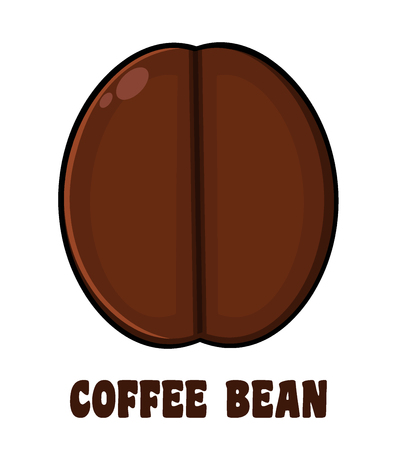 vivacity: Roasted Coffee Bean Cartoon. Illustration With Text Isolated On White