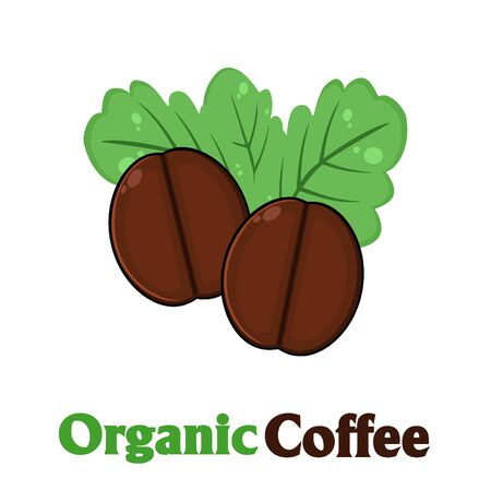 stimulate: Organic Roasted Coffee Beans Cartoon. Illustration With Text Isolated On White Stock Photo