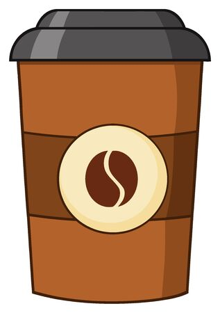 vending: Coffee Cup Cartoon. Illustration Isolated On White