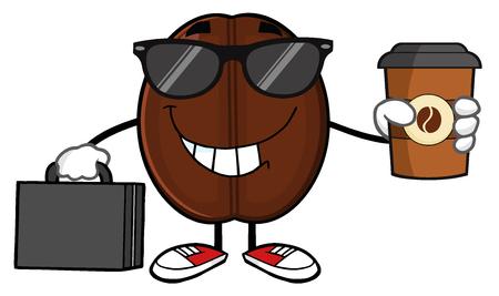 grano de cafe: El hombre de negocios de café mascota de la historieta de la haba de caracteres con las gafas de sol y el maletín Sostiene Una taza de café para llevar Foto de archivo