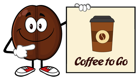 seeds: Smiling Coffee Bean Cartoon Mascot Character Pointing To A Sign Coffe To Go