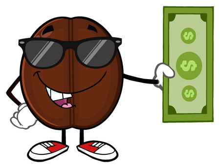 stimulate: Coffee Bean Cartoon Mascot Character With Sunglasses Holding A Dollar Bill Stock Photo