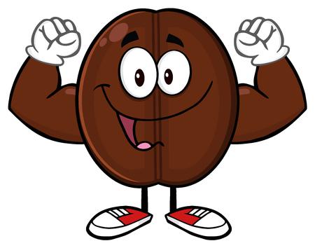 chicchi di caff?: Felice Flessione Character Coffee Bean mascotte del fumetto