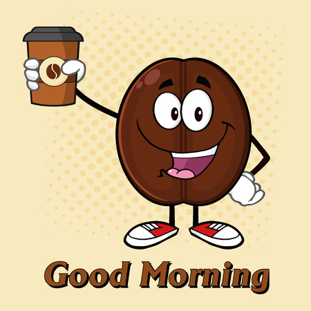stimulate: Cute Coffee Bean Cartoon Mascot Character Holding Up A Coffee Cup. Illustration With Text And Background Stock Photo