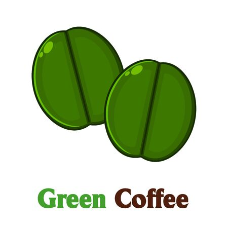 green coffee beans: Two Green Coffee Beans Cartoon. Illustration With Text Isolated On White