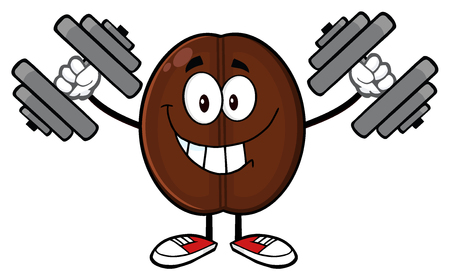 working out: Smiling Coffee Bean Cartoon Mascot Character Working Out With Dumbbells Stock Photo
